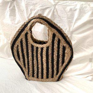Magid Striped Jute Petite Trapeze Tote Bag Natural